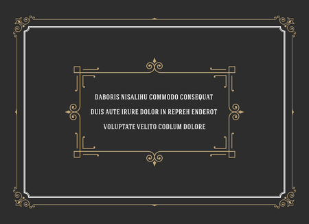 Vintage Ornament Quote Marks Box Frame Vector template design and place for text. Retro flourishes frame chalkboard style. Vettoriali