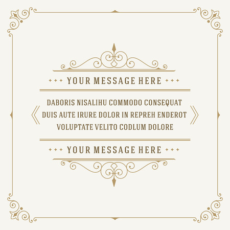 Vintage Ornament Quote Marks Box Frame Vector sjabloonontwerp en plaats voor tekst. Retro bloeit in framekrijtstijl. Stock Illustratie