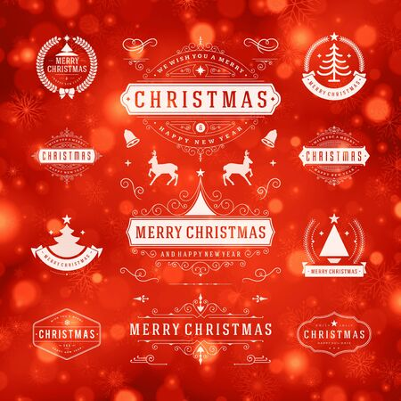 sale tag: Christmas Decorations Vector Design Elements. Typographic elements, Symbols, Icons, Vintage Labels, Badges, Frames, Ornaments set. Flourishes calligraphic. Merry Christmas and Happy Holidays wishes.