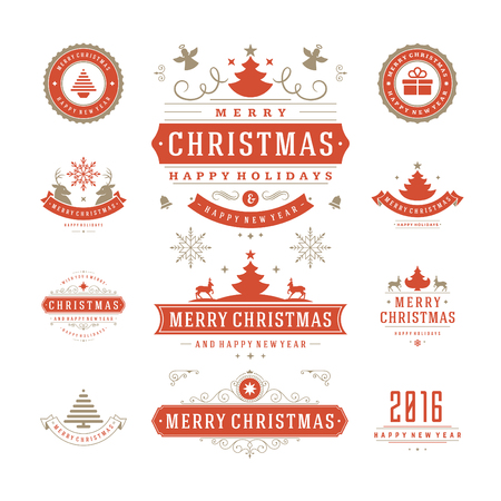 happy holidays: Christmas Labels and Badges Vector Design. Decorations elements, Symbols, Icons, Frames, Ornaments and Ribbons, set. Typographic Merry Christmas and Happy Holidays wishes.