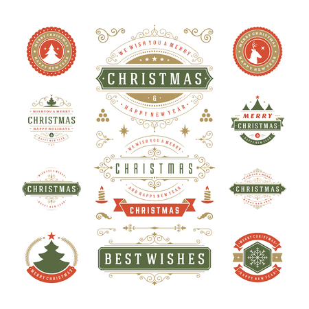 postcards: Christmas Labels and Badges Vector Design. Decorations elements, Symbols, Icons, Frames, Ornaments and Ribbons, set. Typographic Merry Christmas and Happy Holidays wishes.