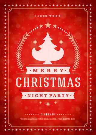 decoration: Christmas party poster retro typography and ornament decoration. Christmas holidays flyer or invitation design. Vector illustration.