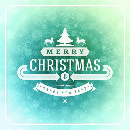christmas decorations: Christmas greeting card lights and snowflakes vector background. Merry Christmas holidays wish message typography design and decorations. Vector illustration.