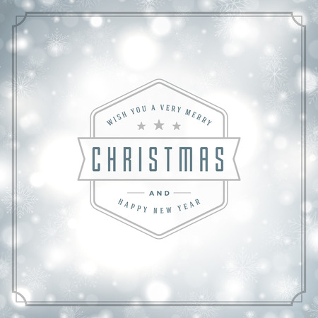 type: Christmas greeting card lights and snowflakes vector background. Merry Christmas holidays wish message typography design and decorations. Vector illustration.