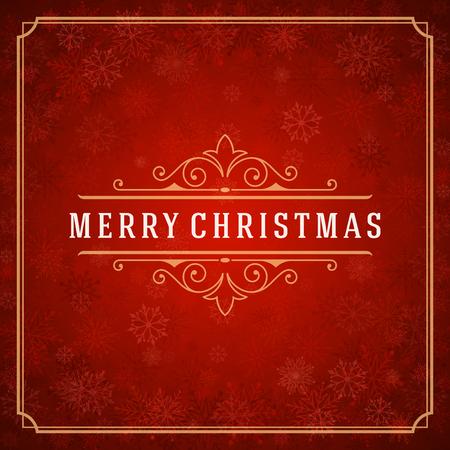 feriado: Luces de la Navidad de tarjetas de felicitación y los copos de nieve de fondo vector. Días de fiesta Feliz Navidad desean mensaje diseño de la tipografía y la decoración. Ilustración del vector. Vectores