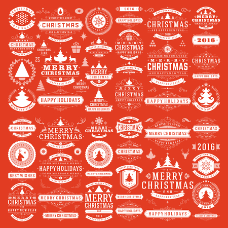 christmas tree set: Christmas decorations vector design elements. Typographic messages, vintage labels, frames ribbons, badges, ornaments set. Flourishes calligraphic. Big Collection.