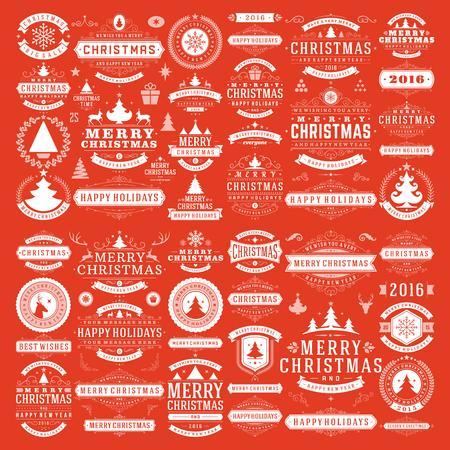gestalten: Weihnachtsschmuck Vektor-Design-Elemente. Typografische Nachrichten, vintage Etiketten, Farbbänder Rahmen, Abzeichen, Ornamente gesetzt. Gedeiht kalli. Große Sammlung.