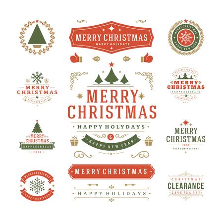 etiqueta: Etiquetas de Navidad y Distintivos de diseño vectorial. Decoraciones elementos, símbolos, iconos, cuadros, adornos y cintas, establecen. Tipográfico Feliz Navidad y Felices Fiestas deseos. Vectores