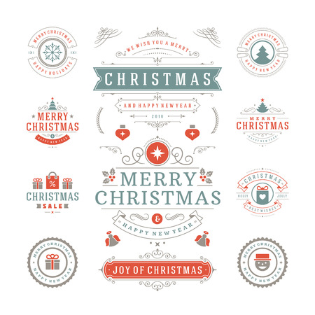 Christmas Labels and Badges Vector Design. Decorations elements, Symbols, Icons, Frames, Ornaments and Ribbons, set. Typographic Merry Christmas and Happy Holidays wishes.