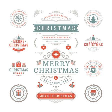 holiday: Etiquetas de Navidad y Distintivos de diseño vectorial. Decoraciones elementos, símbolos, iconos, cuadros, adornos y cintas, establecen. Tipográfico Feliz Navidad y Felices Fiestas deseos. Vectores