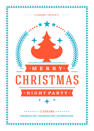 christmas poster: Christmas party poster retro typography and ornament decoration. Christmas holidays flyer or invitation design. Vector illustration.