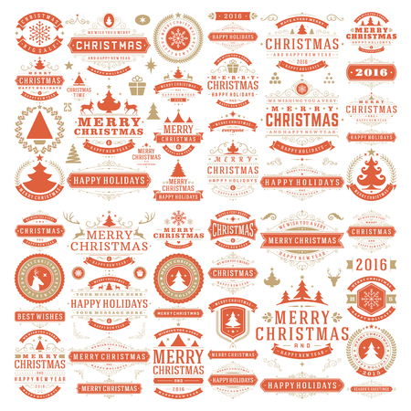 christmas wishes: Christmas decorations vector design elements. Typographic messages, vintage labels, frames ribbons, badges logos, ornaments set. Flourishes calligraphic. Big Collection.