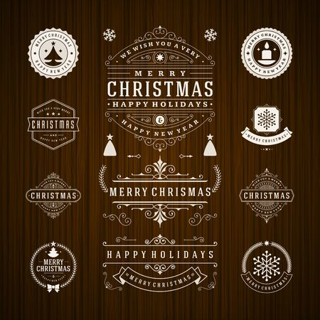 new idea: Christmas Decorations Vector Design Elements. Typographic elements, Symbols, Icons, Vintage Labels, Badges, Frames, Ornaments set. Flourishes calligraphic. Merry Christmas and Happy Holidays wishes.