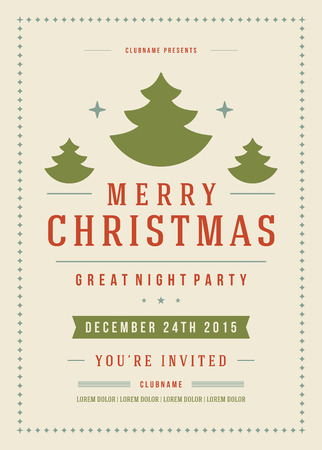 vintage invitation: Christmas party poster retro typography and ornament decoration. Christmas holidays flyer or invitation design. Vector illustration.
