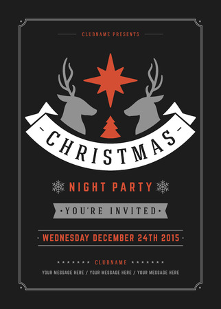 christmas party: Christmas party poster retro typography and ornament decoration. Christmas holidays flyer or invitation design. Vector illustration.