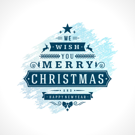 Merry Christmas Typography Greeting Card Design and Decoration Vector Background. Frozen ice Texture paint stain hand drawn brush stroke.