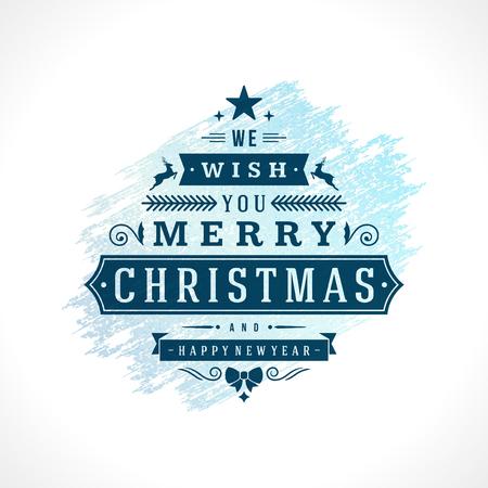 Merry Christmas Typografie Wenskaart Ontwerp en decoratie Vector Achtergrond. Bevroren ijs textuur verf vlek handgetekende penseelstreek.