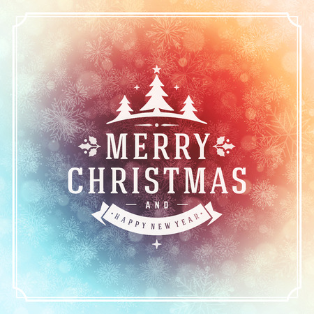 greeting card: Christmas greeting card lights and snowflakes vector background. Merry Christmas holidays wish message typography design and decorations. Vector illustration.