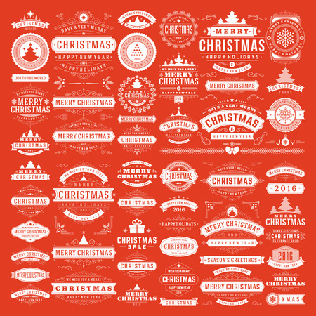 Christmas decorations vector design elements. Typographic messages, vintage labels, frames ribbons, badges logos, ornaments set. Flourishes calligraphic. Big Collection.
