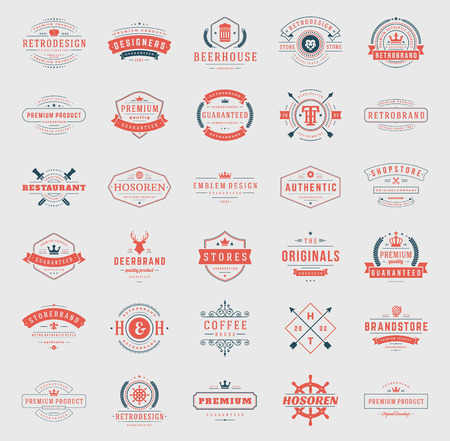 name: Retro Vintage   or insignias set. Vector design elements, business signs,  identity, labels, badges, ribbons, stickers and other branding objects.