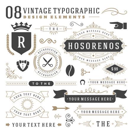 Insígnias Vintage retro set. Projeto do vetor elementos, sinais do negócio, identidade, etiquetas, emblemas, fitas, etiquetas e outros objetos de branding.