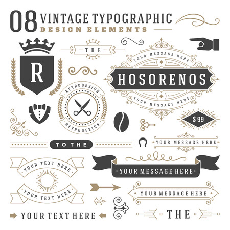 text: Retro Vintage   insignias set. Vector design elements, business signs,  identity, labels, badges, ribbons, stickers and other branding objects.
