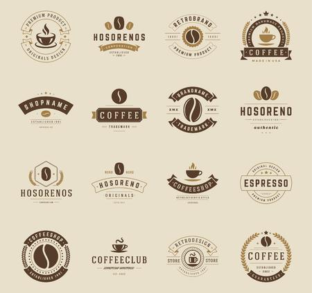 chicchi di caff?: Coffee Shop Badge e impostare le etichette elementi di design. Coppa, fagioli, caffè stile vintage oggetti retrò illustrazione vettoriale. Vettoriali