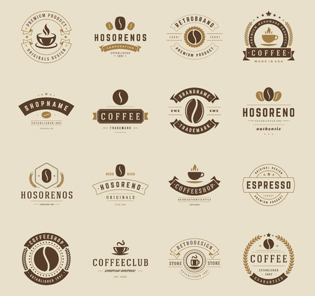 machines: Coffee Shop Badges and Labels Design Elements set. Cup, beans, cafe vintage style objects retro vector illustration.