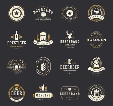 포도 수확: 맥주 배지를 설정하고 빈티지 스타일 레이블. 디자인 요소 레트로 벡터 일러스트 레이 션입니다.