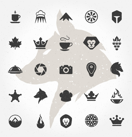 mountain lions: Retro Hand Drawn Objects and Icons Vector Design Elements. Signs and Symbols for design Vintage   Business signs, Identity, Labels, Badges and other design.