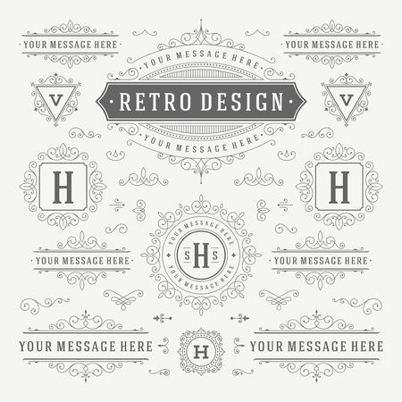 lineas decorativas: Vintage Vector Adornos Decoraciones elementos de dise�o. Florece combinaciones caligr�ficas retro para las invitaciones, Restaurante Men�, Realeza, tipograf�a, citas, tarjetas de felicitaci�n, Certificado y otra. Vectores