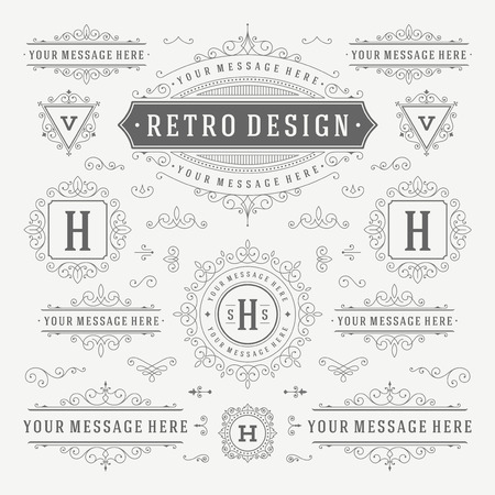 vintage: Vintage Vector Ornements Décorations Design Elements. Flourishes combinaisons calligraphiques rétro pour les invitations, Restaurant Menu, Monarchie, Typographie, des citations, des cartes de voeux, des certificats et des autres. Illustration