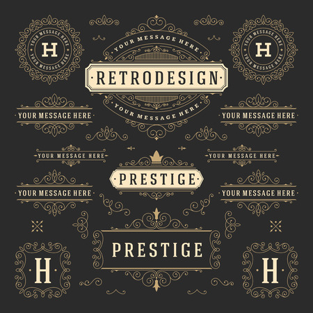 Vintage Vector Ornaments Decorations Design Elements. Flourishes calligraphic combinations retro for Invitations, Restaurant Menu, Royalty, Typography, Quotes, Greeting cards, Certificate and other.