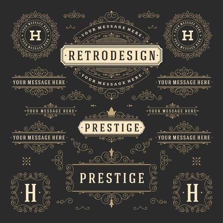 certificado: Vintage Vector Adornos Decoraciones elementos de dise�o. Florece combinaciones caligr�ficas retro para las invitaciones, Restaurante Men�, Realeza, tipograf�a, citas, tarjetas de felicitaci�n, Certificado y otra. Vectores