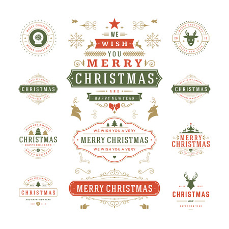 etiqueta: Christmas Labels and Badges Vector Design. Decorations elements, Symbols, Icons, Frames, Ornaments and Ribbons, set. Typographic Merry Christmas and Happy Holidays wishes.