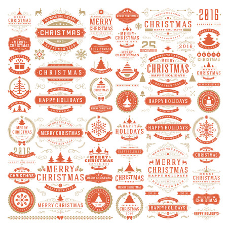 badge: Christmas decorations vector design elements. Typographic messages, vintage labels, frames ribbons, badges, ornaments set. Flourishes calligraphic. Big Collection.