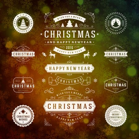 ornament: Christmas Decorations Vector Design Elements. Typographic elements, Symbols, Icons, Vintage Labels, Badges, Frames, Ornaments set. Flourishes calligraphic. Merry Christmas and Happy Holidays wishes.