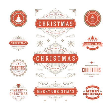 stamp: Christmas Labels and Badges Vector Design. Decorations elements, Symbols, Icons, Frames, Ornaments and Ribbons, set. Typographic Merry Christmas and Happy Holidays wishes.