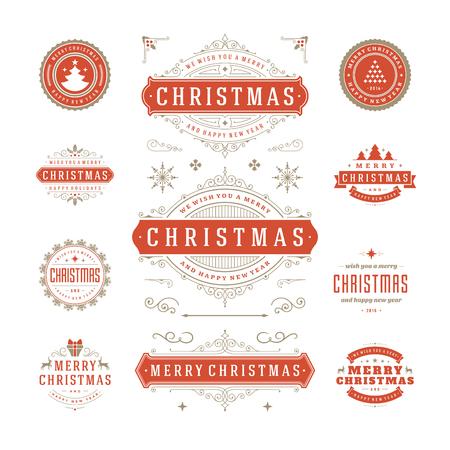sello: Etiquetas de Navidad y Distintivos de diseño vectorial. Decoraciones elementos, símbolos, iconos, cuadros, adornos y cintas, establecen. Tipográfico Feliz Navidad y Felices Fiestas deseos. Vectores
