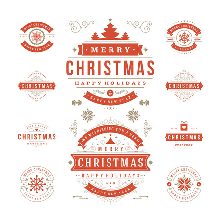 holiday season: Christmas Labels and Badges Vector Design. Decorations elements, Symbols, Icons, Frames, Ornaments and Ribbons, set. Typographic Merry Christmas and Happy Holidays wishes.