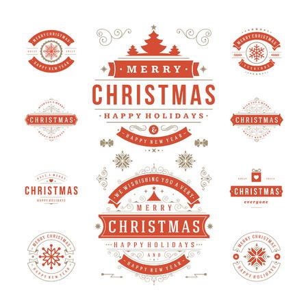 estaciones del año: Etiquetas de Navidad y Distintivos de diseño vectorial. Decoraciones elementos, símbolos, iconos, cuadros, adornos y cintas, establecen. Tipográfico Feliz Navidad y Felices Fiestas deseos. Vectores