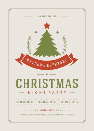 banner background: Christmas party invitation retro typography and ornament decoration. Christmas holidays flyer or poster design. Vector illustration.