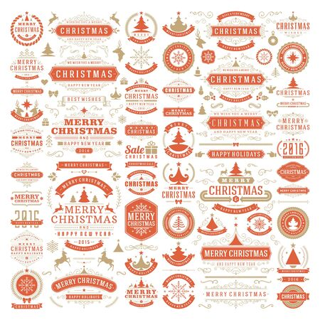 ornaments vector: Christmas decorations vector design elements. Typographic messages, vintage labels, frames ribbons, badges logos, ornaments set. Flourishes calligraphic. Big Collection.