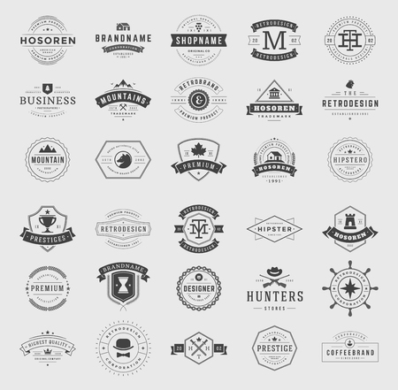 hipster: Retro Vintage Logotypes or insignias set. Vector design elements, business signs, logos, identity, labels, badges, ribbons, stickers and other branding objects.