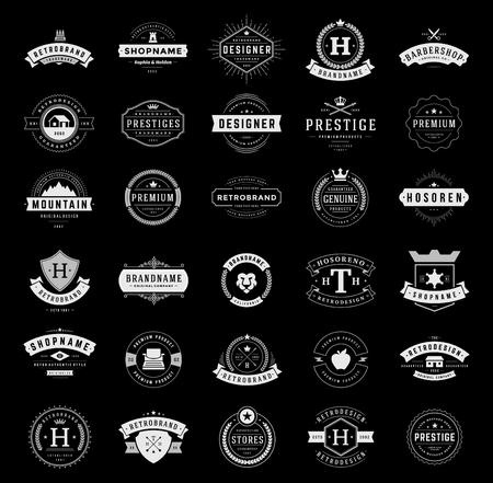 Retro Vintage logotipi o insegne impostare. Vector design elements, insegne commerciali, loghi, identità, etichette, cartellini, nastri, adesivi e altri oggetti di branding. Archivio Fotografico - 48325024