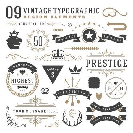 vintage: Retro vintage typografiska designelement. Etiketter band, logotyper symboler, kronor, kalligrafi virvlar runt, prydnadsföremål och andra. Illustration