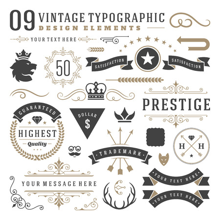 Retro vintage typographic design elements. Labels ribbons, logos symbols, crowns, calligraphy swirls, ornaments and other. Illustration