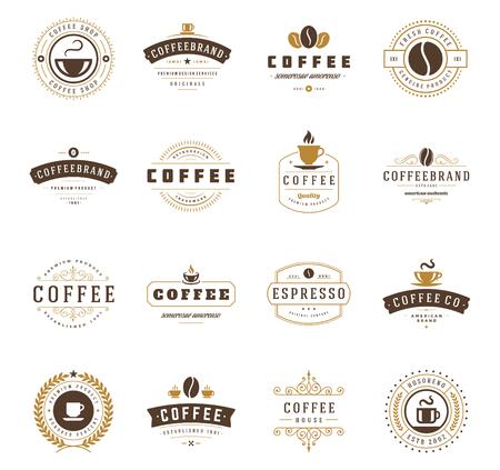 negozio: Coffee Shop Loghi, Badge e impostare le etichette elementi di design. Coppa, fagioli, caffè stile vintage oggetti retrò illustrazione vettoriale.