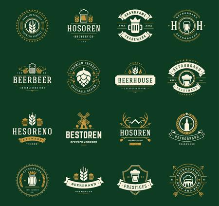 葡萄收穫期: 集啤酒標誌,徽章和標籤復古風格。設計元素復古矢量插圖。 向量圖像