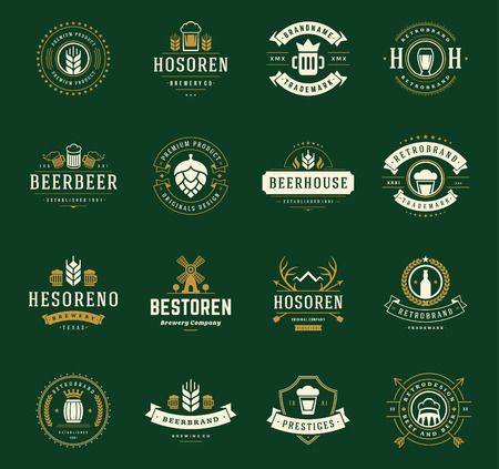 Stel Beer Logos, Badges en Labels Vintage stijl. Design elementen retro vector illustratie. Stock Illustratie